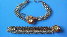Vintage Miriam Haskell Amber & Citrine Glass Bead Necklace And Bracelet  #MiriamHaskell