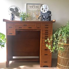 Vintage and Rare Watchmaker's Desk with Lots of Drawers Work Desk, Writing Desk, Mid Century Furniture, Vintage Wood, Table Furniture, Liquor Cabinet, 1950s, Drawers, Storage