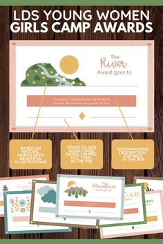 Enhance lds Girls Camp! These girls camp awards are non-food and emphasize young women's strengths with a nature theme. Editable pdf. Perfect for YCLs, awesome for your Latter-Day Saint camp! 12 total certificates. Printable instant download. Spiritual and fun message! Girls Camp Awards, Chore Schedule, Secret Sister Gifts, Strength Of A Woman, Visiting Teaching, Activity Days, These Girls, Young Women, Lds Blogs