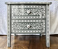 Nightstands with Faux Bone Inlay Stencils | Jewels at Home Home Bedroom, Bedroom Furniture, Bedroom Ideas, Stencil Dresser, Campaign Dresser, Mid Century Dresser, Nightstands, Furniture Makeover, Bones