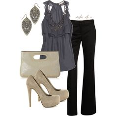 Gunmetal and Gray-Beautiful blouse and love the earrings!, created by styleofe on Polyvore