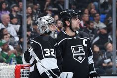 LOS ANGELES, CA - MARCH 10: Jonathan Quick #32 and Anze Kopitar #11 of the Los Angeles Kings look on during a game against the St. Louis Blues at STAPLES Center on March 10, 2018 in Los Angeles, California. (Photo by Adam Pantozzi/NHLI via Getty Images)