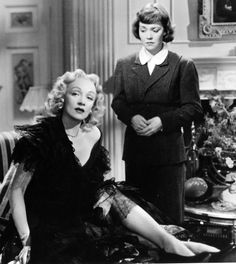 Jane Wyman and Marlene Dietrich in Alfred Hitchcock's Stage Fright (1950)