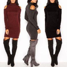 Women Trendy Cold Shoulder Mock Neck Knitted Dress