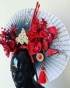 Floral Headdress, Red Orchids, Paper Butterflies, Red Fabric, Chinese New Year, Deco, Original Image, Burlesque, Lady In Red