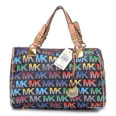 Michael Kors Grayson Logo Large Black Multicolor Satchels Outlet - $74.99