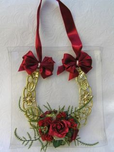 Lucky horseshoes with silk flower decoration ...