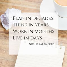 Plan in decades. Think in years. Work in months. Live in days - Nic Haralambous