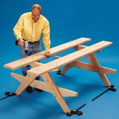 how to build a picnic table step 5 Build A Picnic Table, Wooden Picnic Tables, Outdoor Picnic Tables, Garden Furniture, Wood Furniture, Woodworking Plans, Woodworking Projects, Wood Projects, How To Plan
