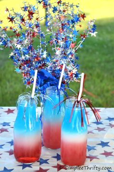 Patriotic Red White and Blue Layered Drink