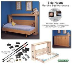 Hardware Kit for Horizontal Mount Murphy Bed- I would love this for the guest room/craft room. Love this for a little boys room, I'd put a folding child size bench seat on the outside that could be used when the bed was folded up.