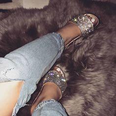 Designer Clothes, Shoes & Bags for Women Cute Sandals, Cute Shoes, Me Too Shoes, Shoes Sandals, Bling Sandals, Sneaker Heels, Sneakers, Estilo Kylie Jenner, Silver Sandals
