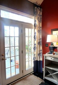 Stenciled curtains - I have high ceiling apartment with large patio window. Time for a DIY on a drop cloth curtain.