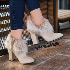 Zaray Süet Bej Tüylü Topuklu Bot #fashion #style #beige #boots #heels #trend