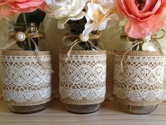 ANTIQUE BUTTONS... 3 burlap and lace covered mason jar vases wedding by PinKyJubb