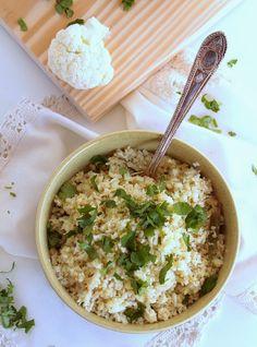 """Eu testei: a receita é ótima!! - Th  Blog Nem acredito que é saudável!: Arroz fingido de Couve flor (sem gluten, vegan, low carb). Cauliflower """"rice"""" (vegan, gluten free, low carb)"""