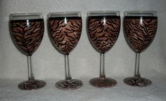 Wine Glasses Tiger Print Hand Painted Set by SharonsCustomArtwork, $30.00