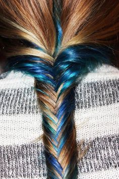 Brown and blue mixed fishtail braided hairstyle