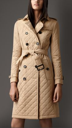 Long Quilted Gabardine Trench Coat   Burberry