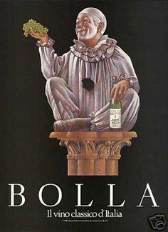 Vintage Italian Posters ~ #illustrator #Italian #posters #vintage ~ Italian Clown Bolla Soave Vino Wine (1989) IFHN