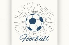 soccer ball and vintage sun burst by Netkoff on Creative Market