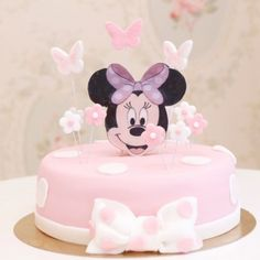 Mini Mouse Birthday Cake, Baby Birthday Cakes, Minnie Birthday, Cake Baby, Bolo Minnie, Minnie Cake, Minni Mouse Cake, Christmas Cake Pops, Sugar Cake