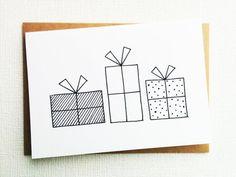 Kerstkaart, xmas, santa presenteert, kerstcadeau, cadeaubonnen, zwart-witprinter card, card 2017, kerstkaart, moderne Kerstmis, decoratie