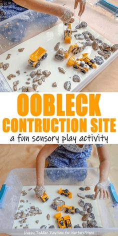 Create a fun construction site invitation to play for preschoolers, kindergarteners and even bigger kids. Adding construction site vehicles to oobleck makes an amazing sensory and pretend play activity for any truck fan.   Oobleck construction site sensory play Mandisa from Happy Toddler Playtime joins us today with a gloriously messy sensory play idea …