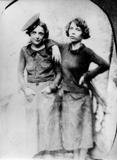 Edith Piaf and her half-sister Simone Berteaut are pictured in 1930, the same year they met, before they became companions for life. Piaf and Berteaut became inseparable, touring the streets, singing and earning money for themselves until they had enough to rent their own place together.