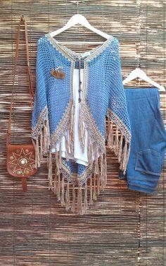Feito à mão em crochet  Fio azul 100% algodão  90