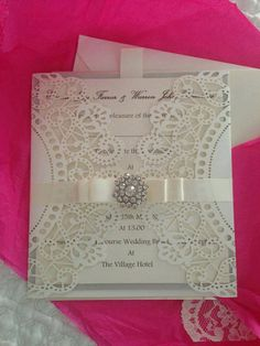 Laser cut wedding invitation sample with embellishment on Etsy, $6.24