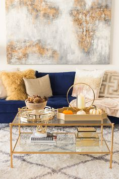 Inspo Wohnung One Simple Living Room Tips For The Rose Gardener Blue And Gold Living Room, Blue Couch Living Room, Large Living Room Furniture, Glam Living Room, Simple Living Room, Living Room Decor Gold, Glam Colorful Living Room, Navy Living Rooms, Living Room Seating