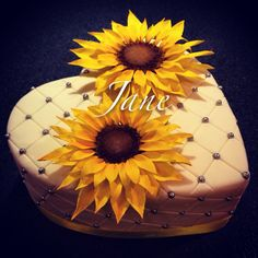 Heart shape fondant sunflowers fondant cake!