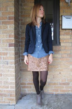 blazer, chambray, sequin skirt, tights, ankle boots