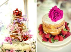 Naked wedding cakes. Non frosting wedding cakes. Covered in fruit and flowers with layers of cream and fruit jam.