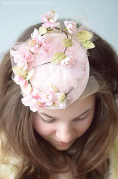 Soft Pink Delicate Floral Tulle Fascinator by Ruby & Cordelia's Millinery