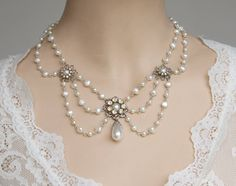 Pearl Bridal Necklace, Vintage Rhinestone Wedding Jewelry, Florence Collection