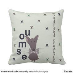 Mouse Woodland Creature Throw Pillow