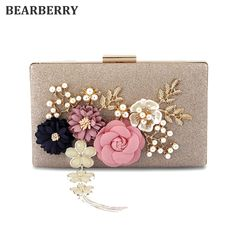BEARBERRY 2017 new fashion handmade floral evening bags wedding clutch bags  with pearl chain party bags 1117172355f4