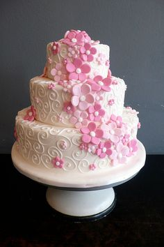 White Fondant wedding cake with roses & swirls by CAKE Amsterdam - Cakes by ZOBOT, via Flickr