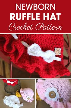 Crochet Afghans Easy The Newborn Ruffle Hat is great for fun in the sun for your new baby or grand baby. Get a little extra help from Ashley with the video tutorial. Baby Hat Patterns, Easy Crochet Patterns, Tutorial Crochet, Crochet Ideas, Knitting Patterns, Crochet Instructions, Crochet Designs, Stitch Patterns, Crochet Gifts