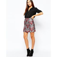 Warehouse Tapestry Mini Skirt (1.110.550 VND) ❤ liked on Polyvore featuring skirts, mini skirts, multi, short white skirt, white mini skirt, jacquard skirt, white skirt and short mini skirts