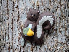 Squirrel Ornament Gray Squirrel Felt Squirrel Christmas Squirrel