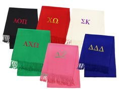 Embroidered Sorority Cashmere Feel Solid Color Scarves | Key Your Spirit, LLC Several scarf and thread colors to choose from at http://www.keyyourspirit.com/collections/sorority-apparel/products/sorority-cashmere-feel-solid-color-scarves