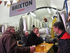 Folding tables and benches at Brixton Brewery.