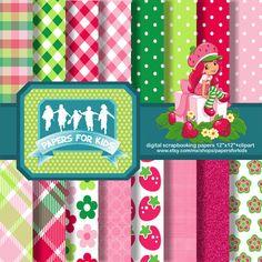 Digital Papers, Strawberry Shortcake, Girls, Invitation, Background, Birthday, Clipart