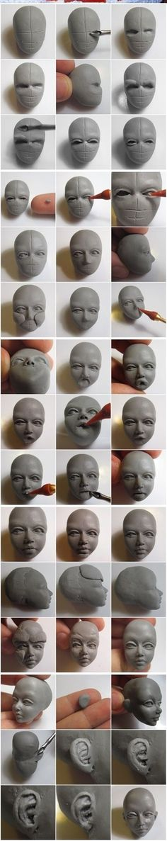 How To Sculpt Faces In Polymer Clay - Bored Art - polymer clay faces 3 -Learn How To Sculpt Faces In Polymer Clay - Bored Art - polymer clay faces 3 - Polymer+Clay+Sculpture+Peoples Sculptures Céramiques, Sculpture Clay, Sculpting Tutorials, Clay Faces, Paperclay, Clay Figures, Polymer Clay Crafts, Polymer Clay Dolls, Doll Face