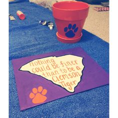 Go Clemson tigers! Nothing could be finer than to be a Clemson tiger. DIY canvas and pot