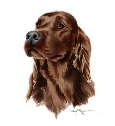SETTER irlandais chien Art Print signée par l'artiste DJ Rogers