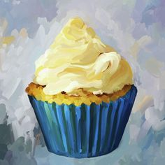 Vanilla Cupcake Painting  - Vanilla Cupcake Fine Art Print